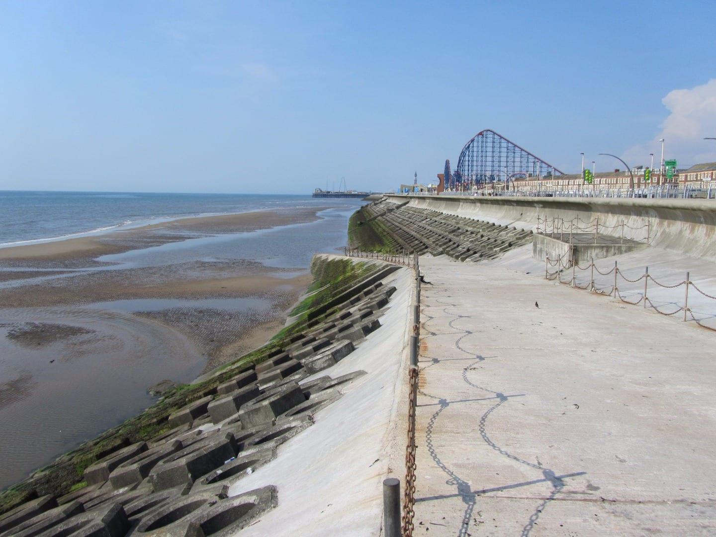 Blackpool seafront - Looking towards South Pier and the Pleasure Beach from Blackpool South