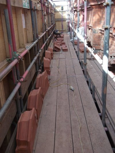 Terracotta on site ready to be fitted at Blackpool Tower