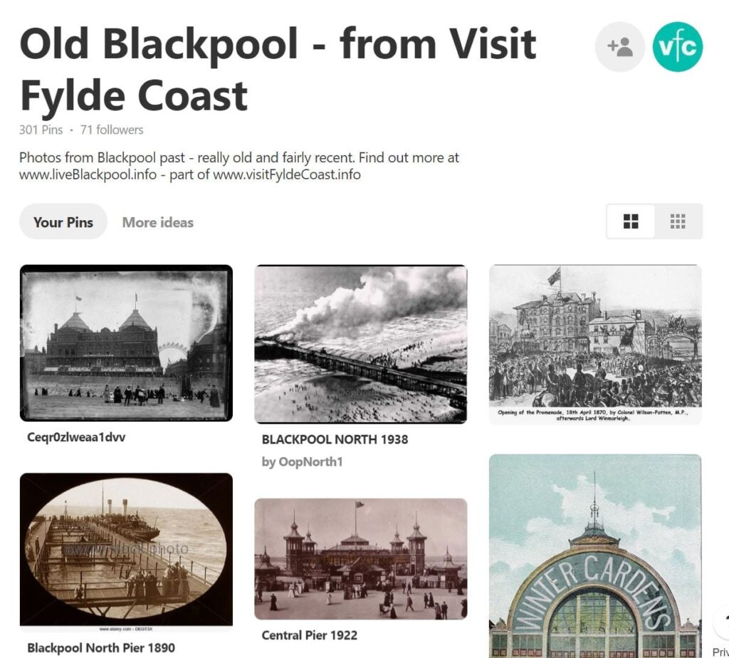 Old Blackpool Photos on the Visit Fylde Coast Pinterest Page