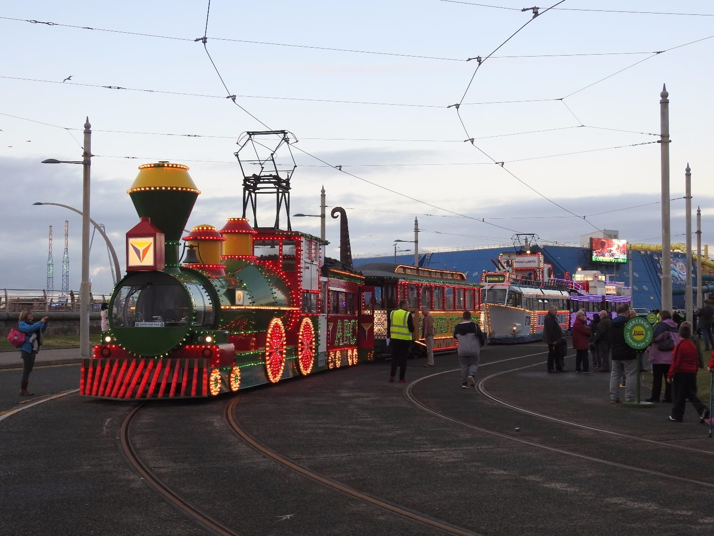 The three illuminated trams at Pleasure Beach