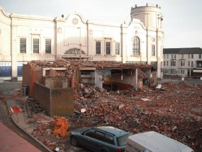 Demolishing buildings between the Houndshill and Winter Gardens