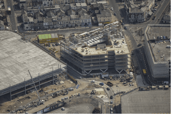 Aerial photo of Construction at Talbot Gateway Blackpool. Muse Developments