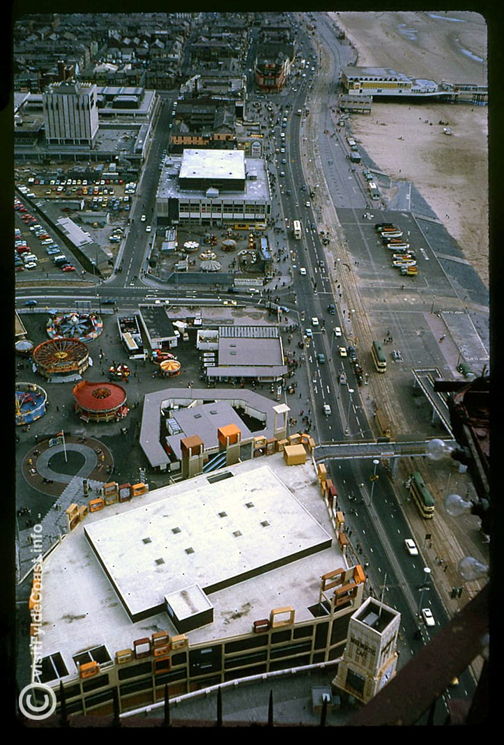 View of Blackpool Central site from the top of Blackpool Tower - early 1970's