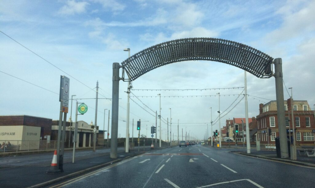 Illuminations welcome arch at Blackpool North Shore, turn right here to Bispham Village