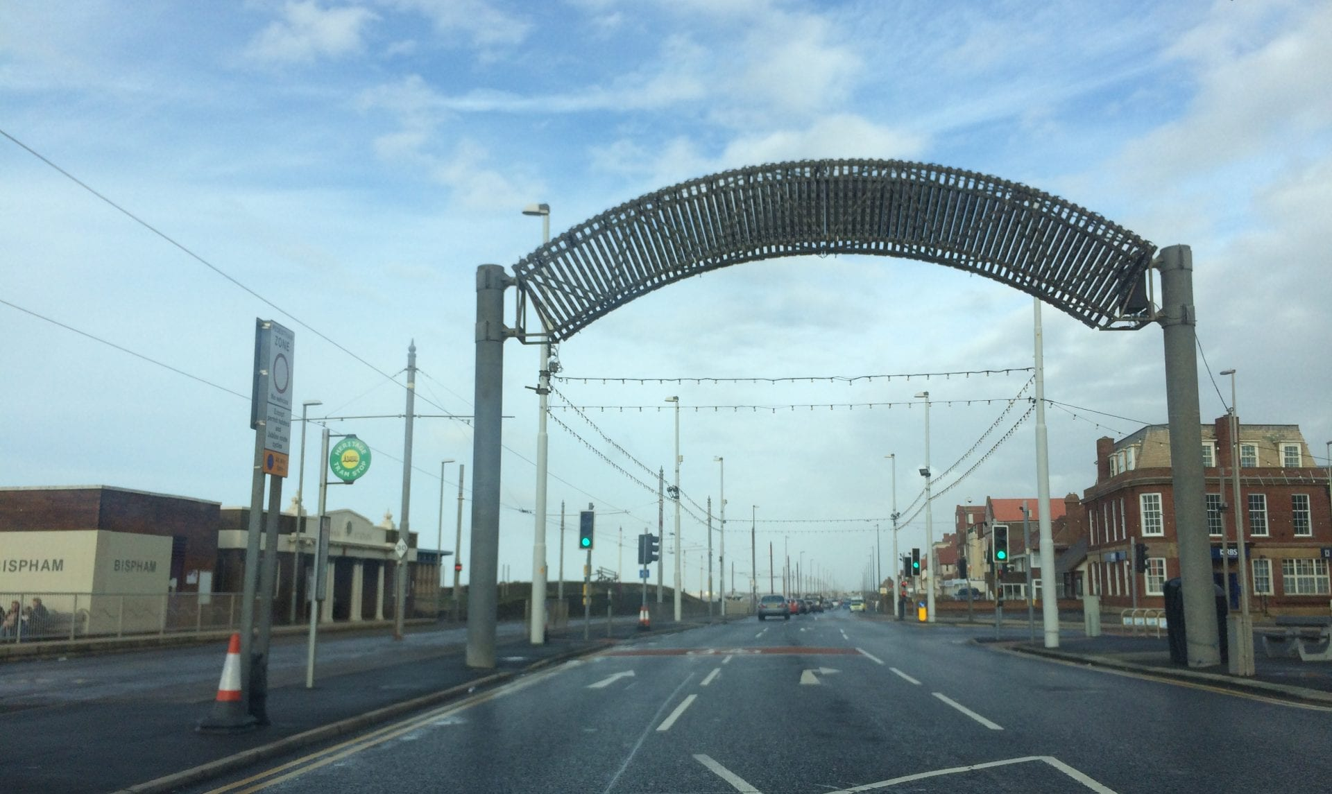 Illuminations welcome arch at Bispham, Blackpool North Shore