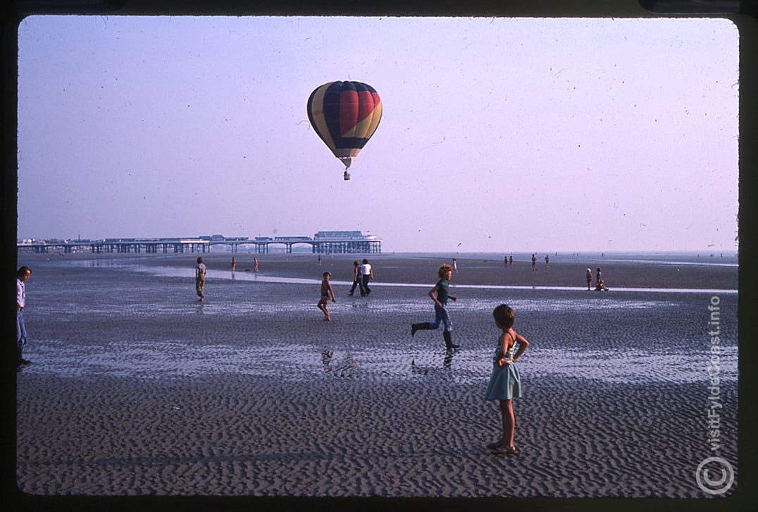 Hot air balloons flying from Blackpool beach. Our Old Blackpool Photos - archives from Visit Fylde Coast