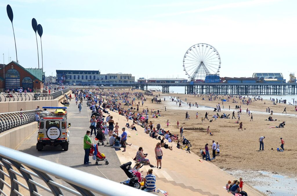 Blackpool Beaches - central with Tower Festival Headland behind you