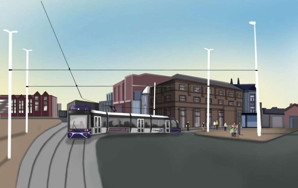 Blackpool Tramway Extension, proposal showing a tram entering Talbot Square