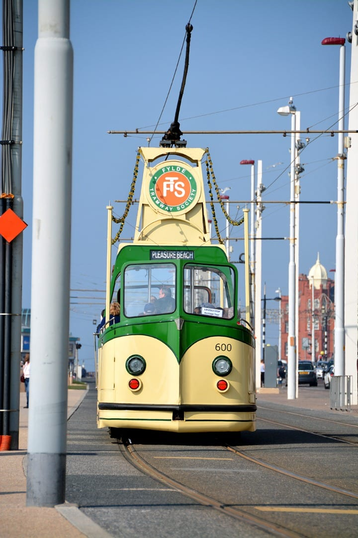 Open topped Heritage Tram at Blackpool