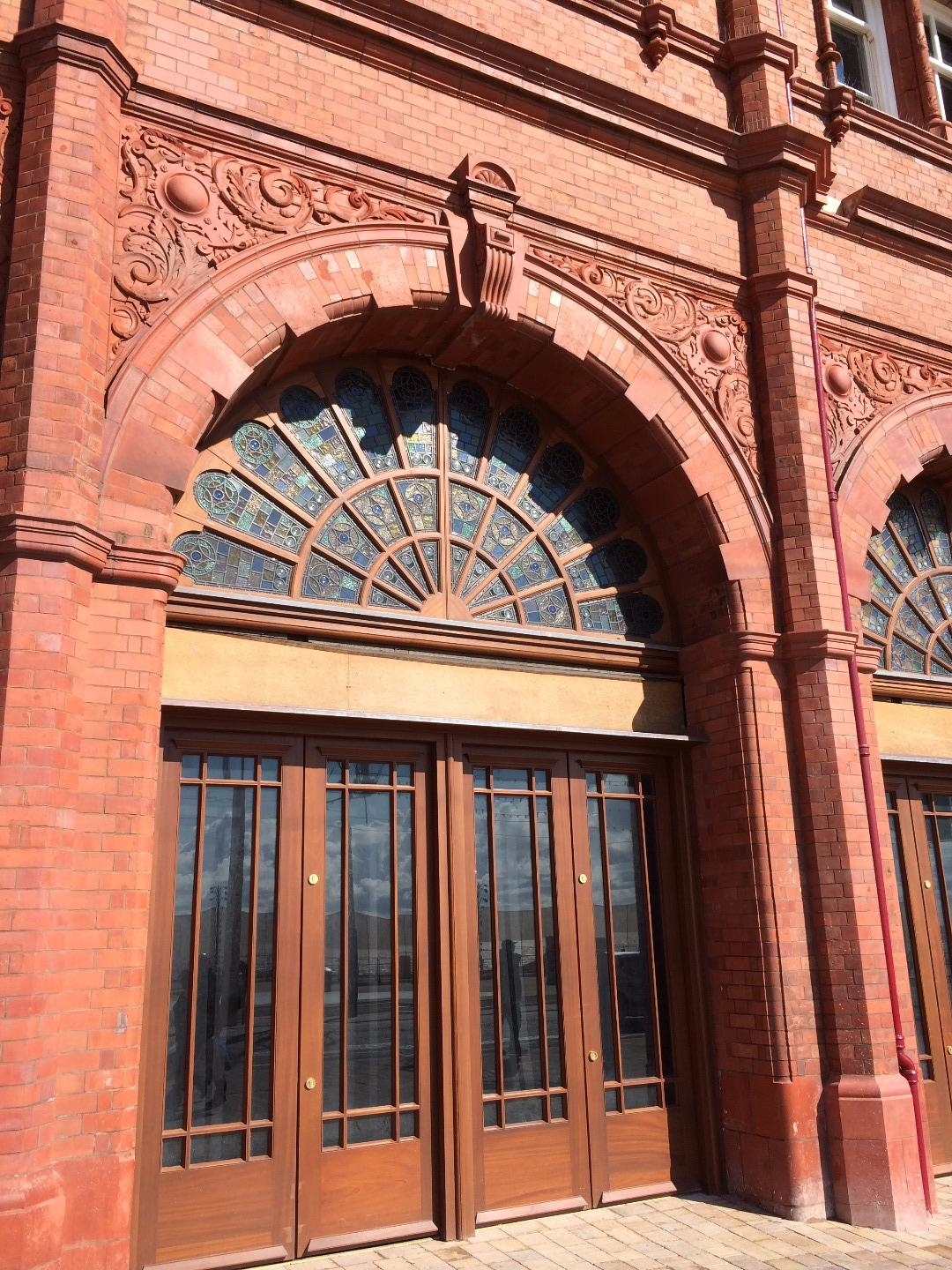 Restored stained glass arch on the front of Blackpool Tower