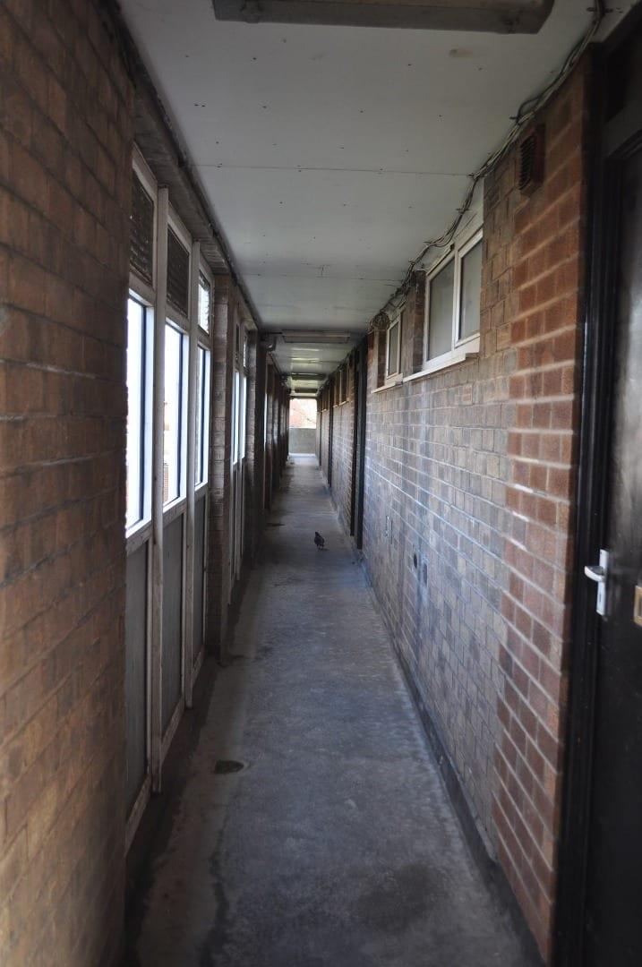 Corridors inside Queens Park flats