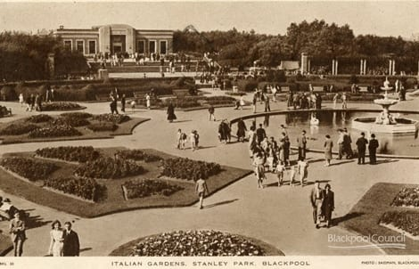 Italian Gardens Stanley Park, Blackpool, Posted 1949