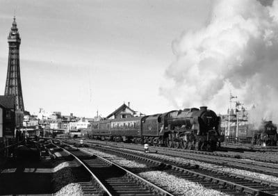 Train leaving Blackpool Central, circa 1965