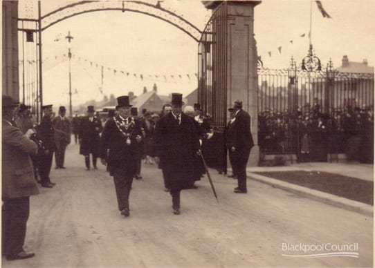 Lord Derby opening the gates at Stanley Park in 1926