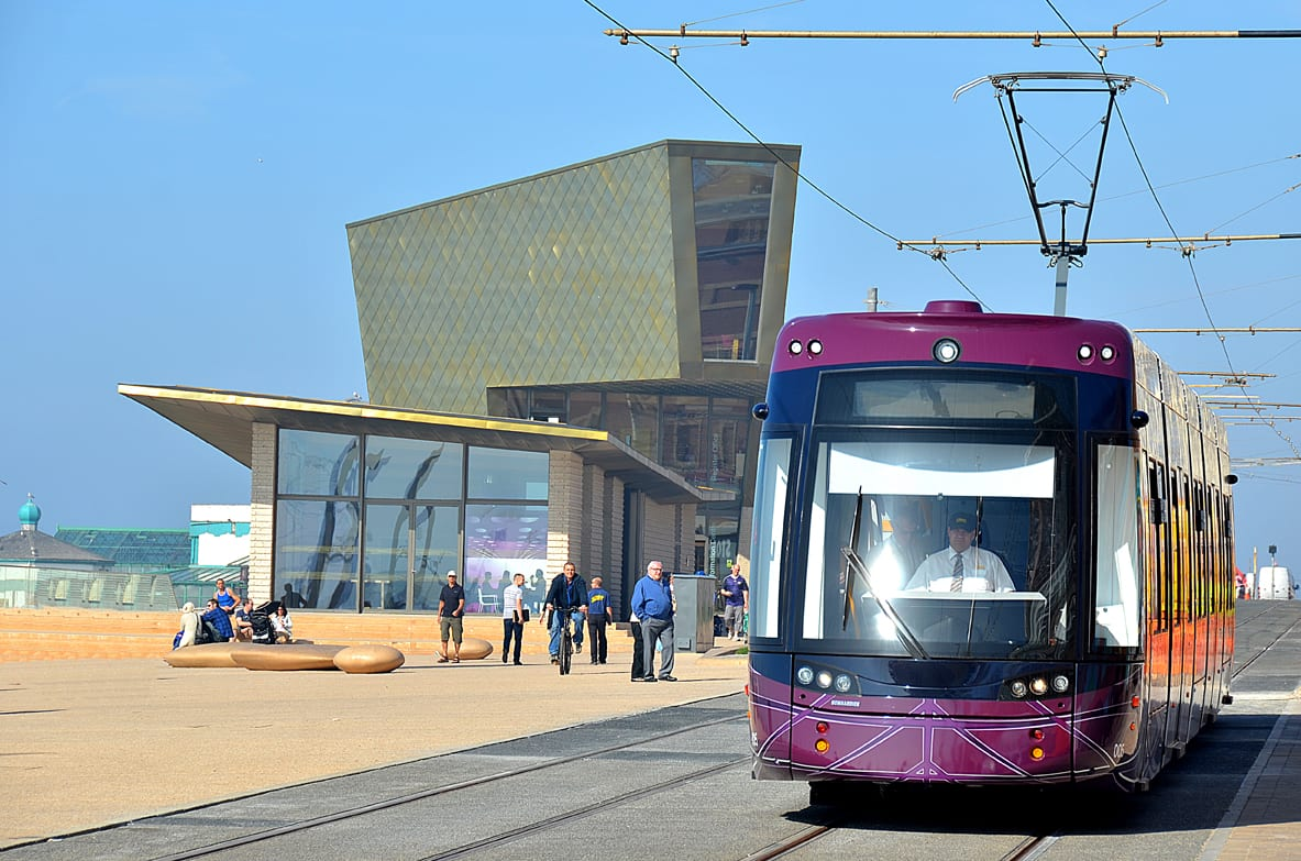 Blackpool Tram at Festival House on the promenade