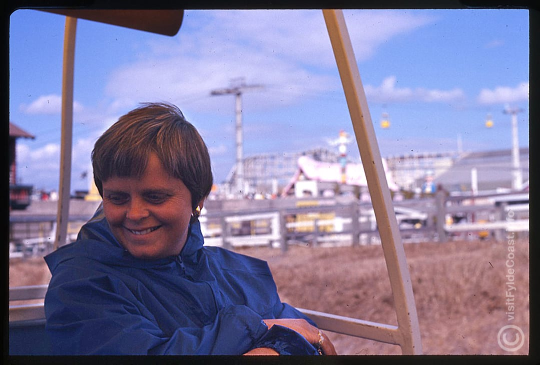 Chrissie on the monorail at Blackpool Pleasure Beach. Our Old Blackpool Photos - archives from Visit Fylde Coast