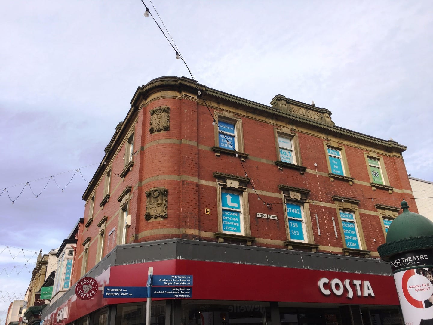 Traces of Blackpool's past at Rawcliffes outfitters above Costa Coffee, Church Street