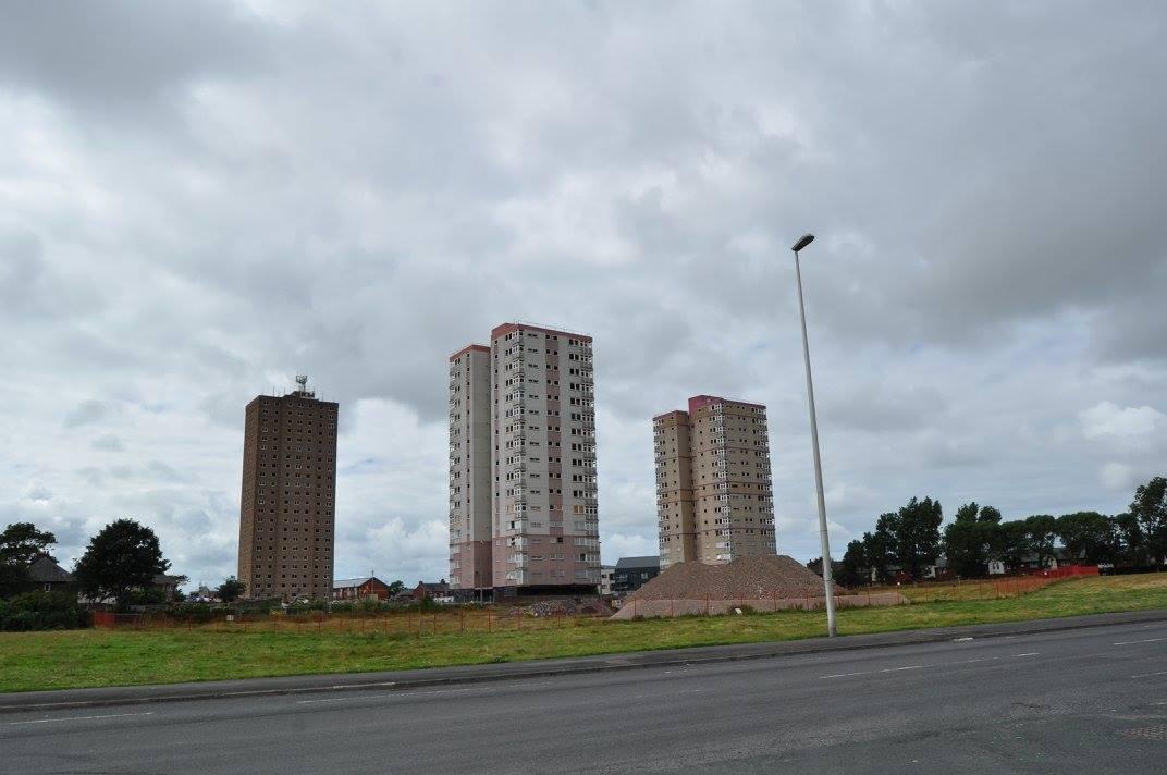 Three Queens Park tower blocks before demoltion
