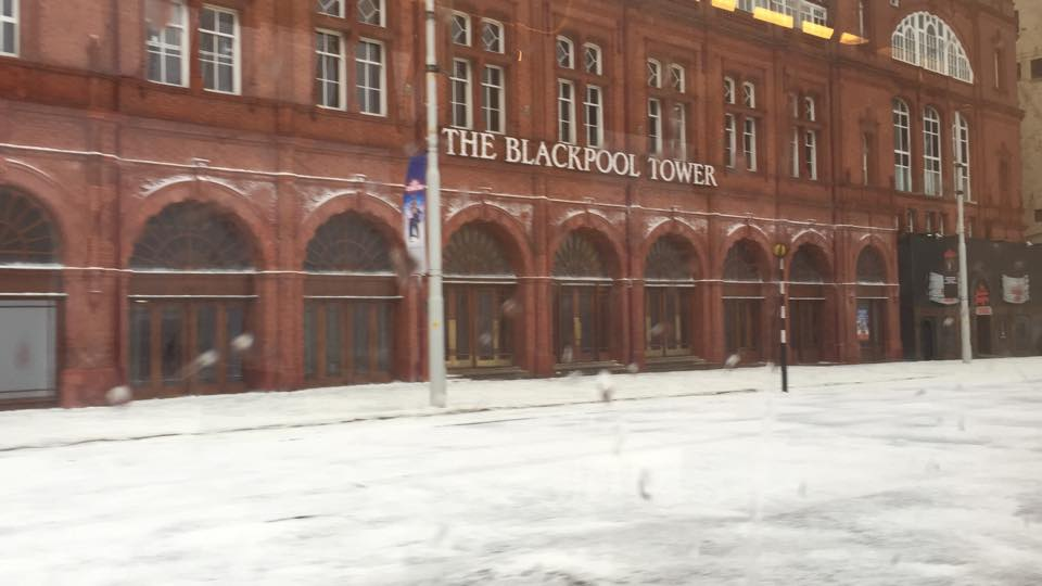 Snow on Blackpool prom