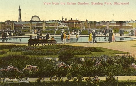 View from the Italian Garden in Stanley Park, posted 1928