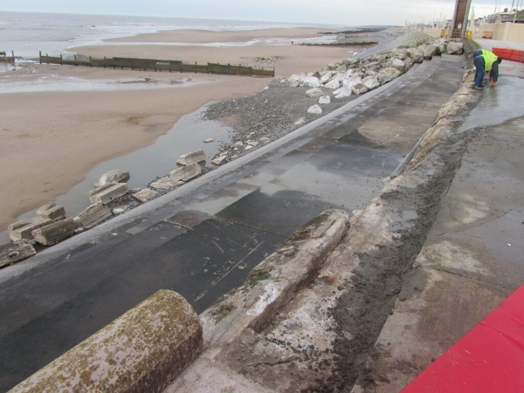 The old Anchorsholme sea wall being repaired in December 2013