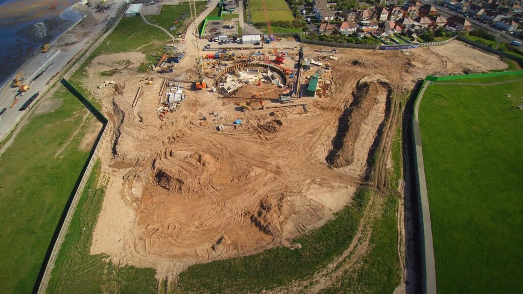 Aerial photo of Anchorsholme showing United Utilities works