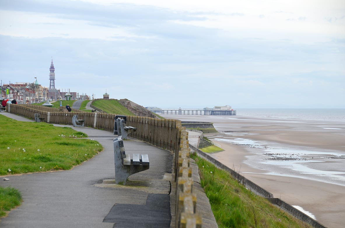 Bispham cliff top walk, with Blackpool straight ahead