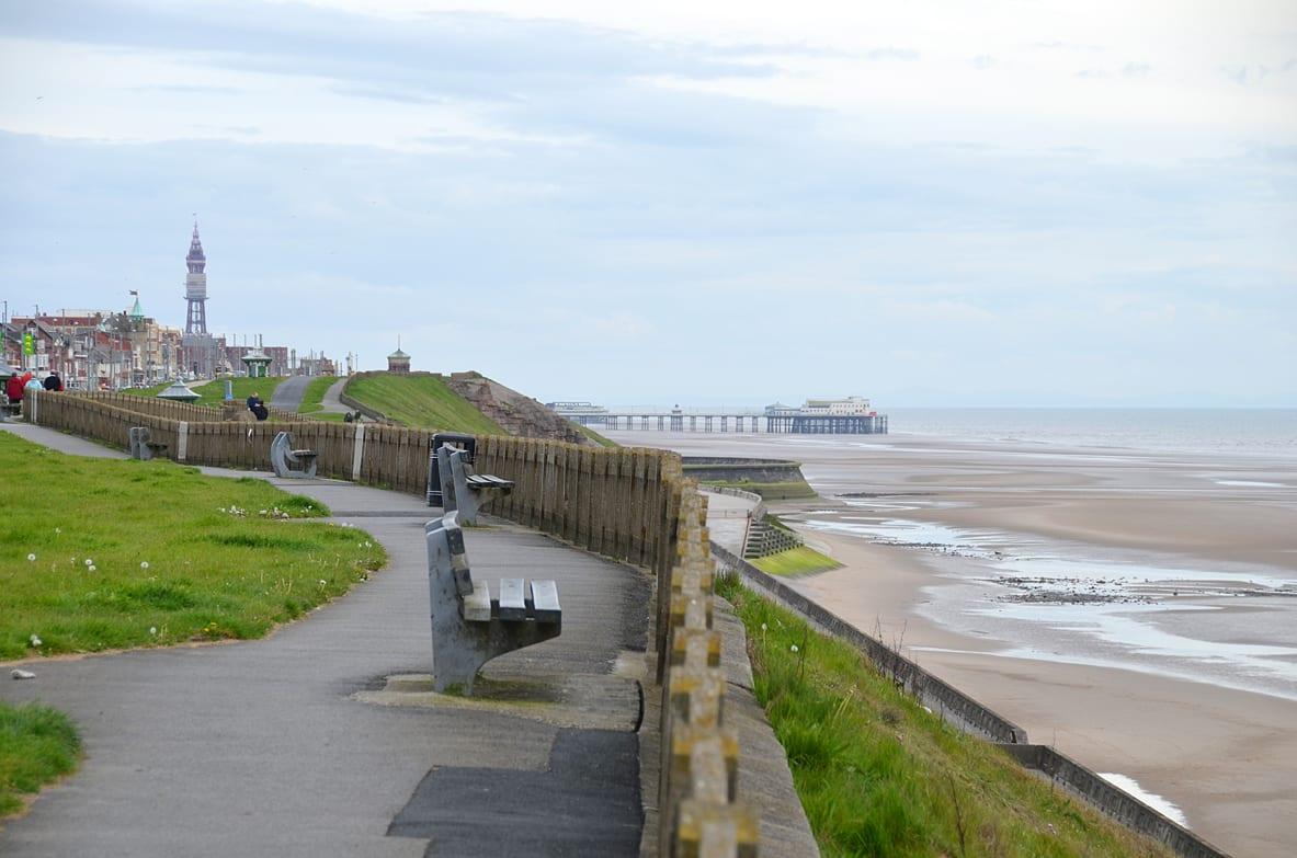 Bispham cliff top walk, with Blackpool straight ahead