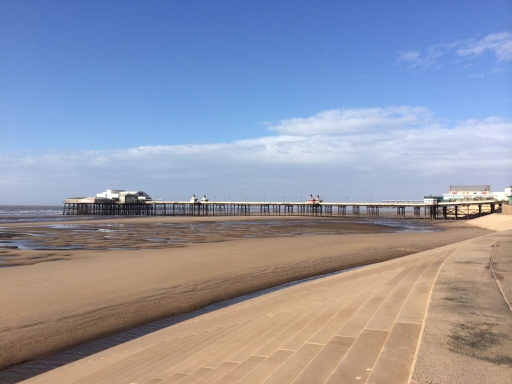Beach at southern side of Blackpool North Pier. There are no dogs on the main beaches in Blackpool during the season