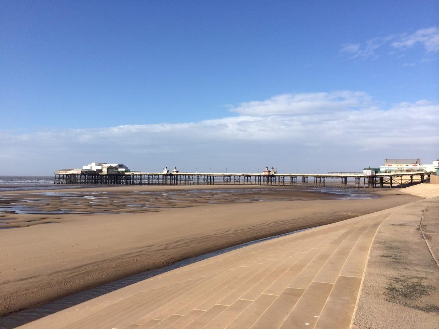 Beach at southern side of Blackpool North Pier, there are no dogs on main Beaches in Blackpool during the season