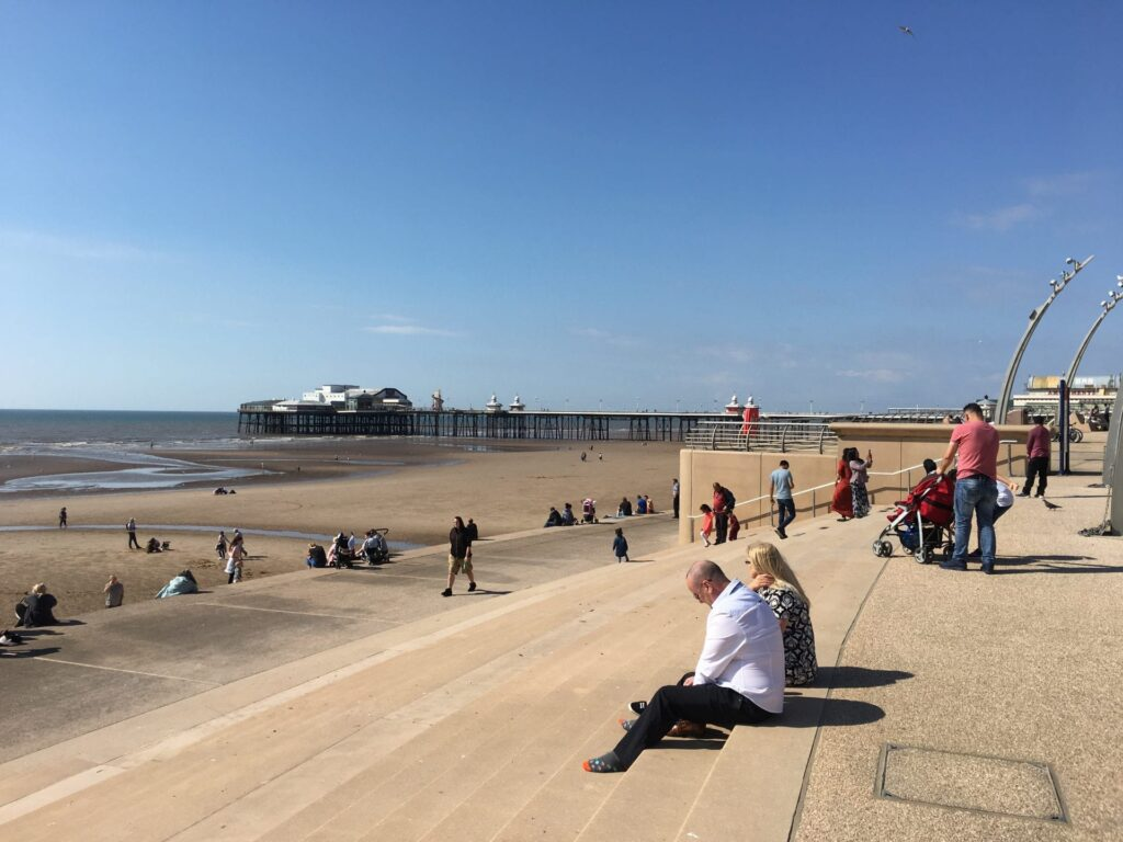Blackpool Beach and sea wall at Tower Festival headland