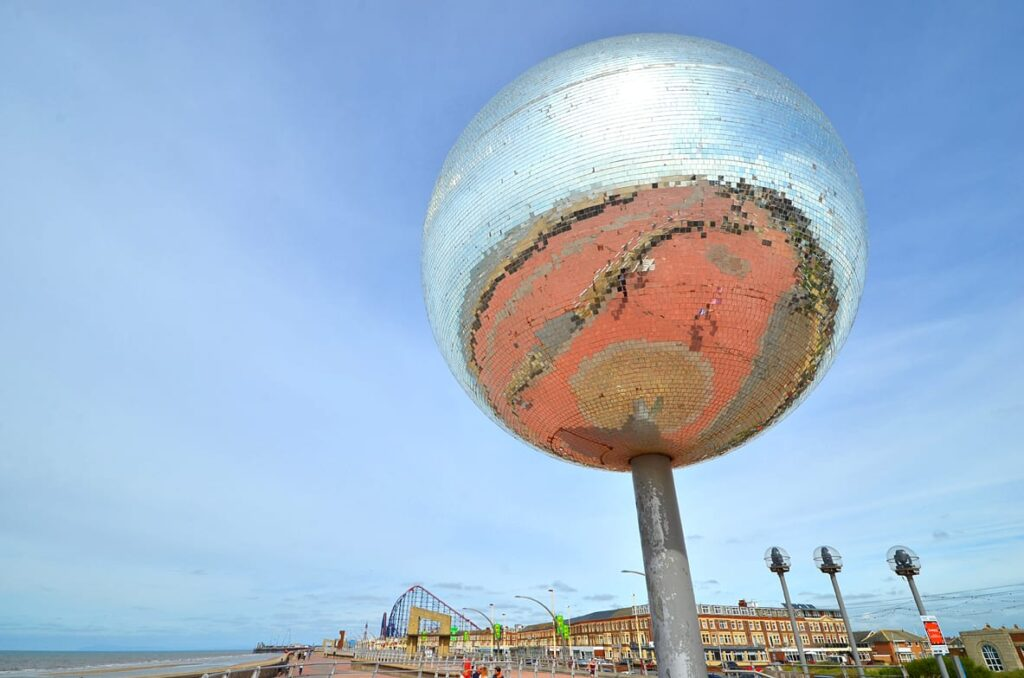 Beach at the Mirror Ball at Blackpool New South Promenade.