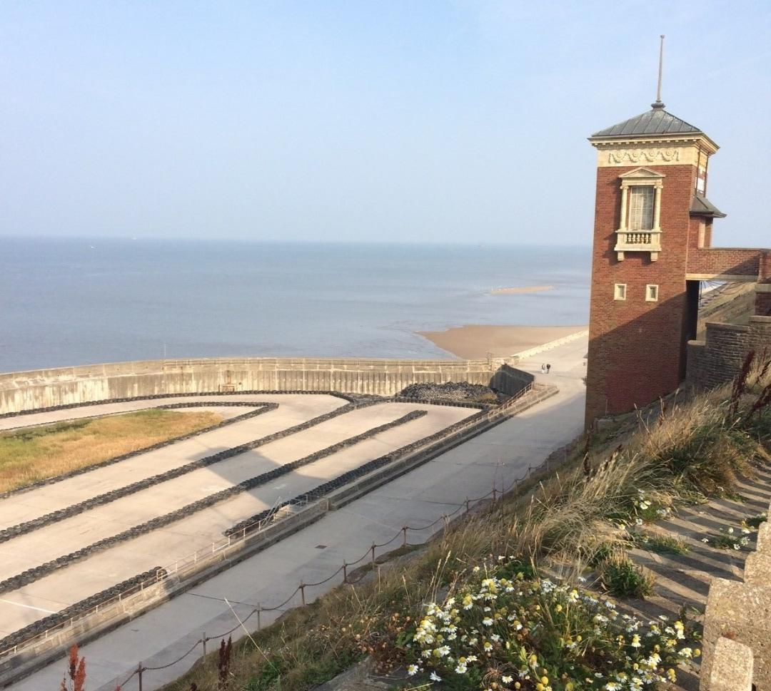 Boating pool and Cliff Lift at Blackpool North Shore