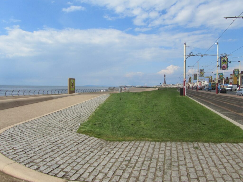 Grass features along Blackpool South Shore