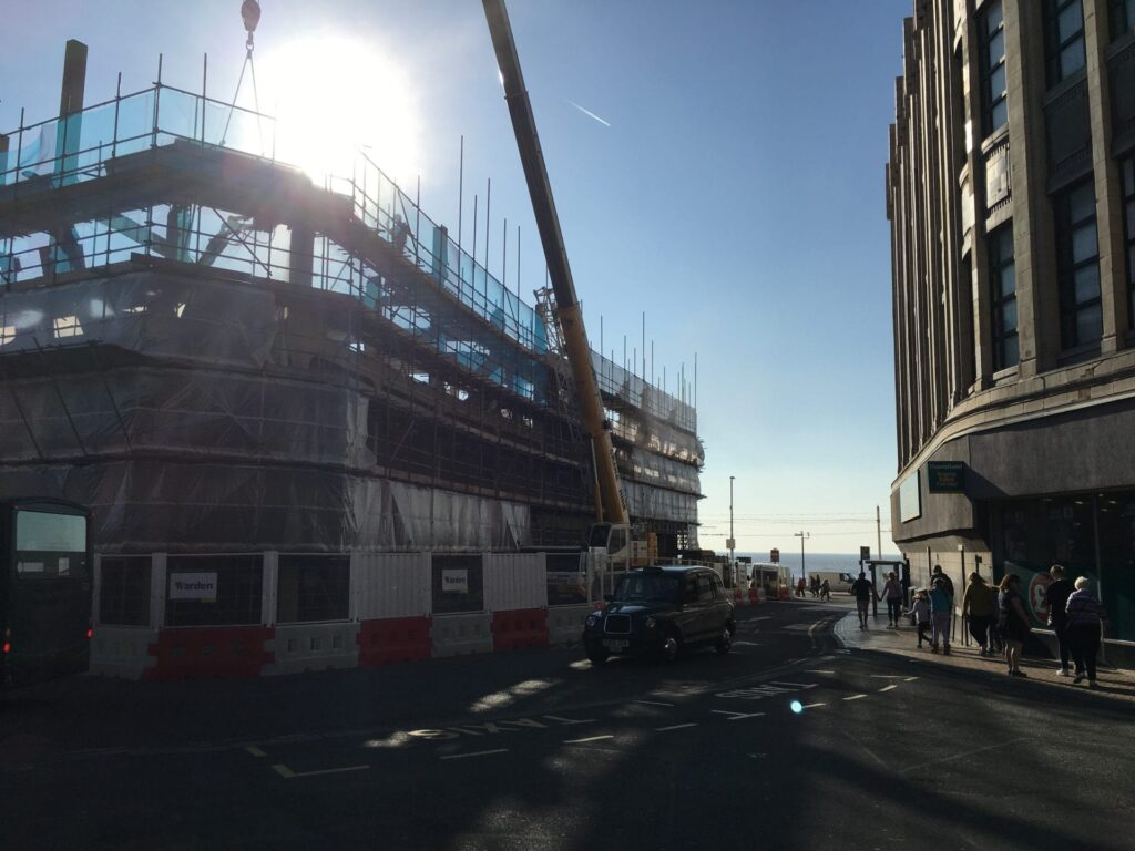 Demolition of Sands Building on Blackpool promenade. The new development will include Blackpool Museum.
