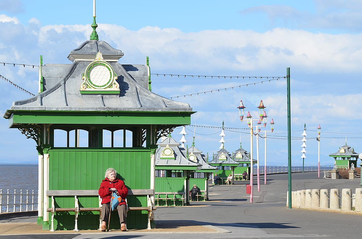 Victorian shelters on Blackpool seafront