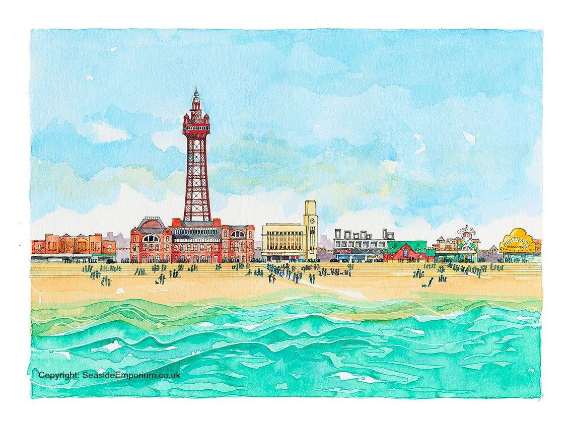 Blackpool Seafront, original watercolour painting from Seaside Emporium
