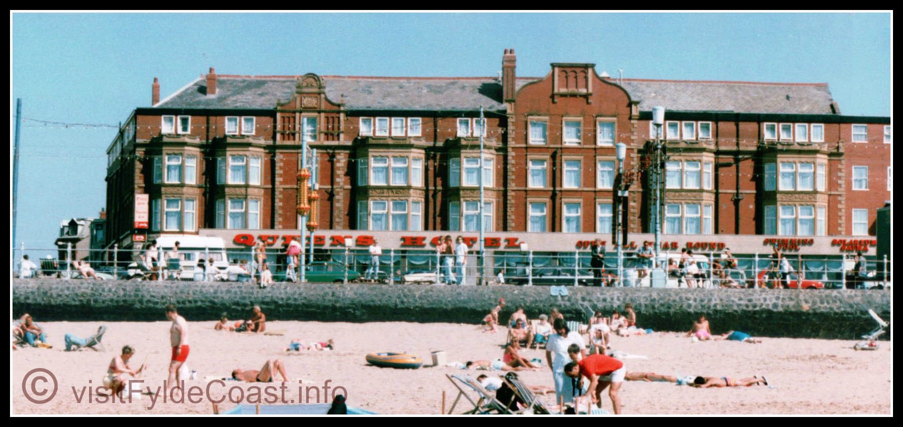 Blackpool South Beach at the Queens Hotel, c 1991. Our Old Blackpool Photos - archives from Visit Fylde Coast