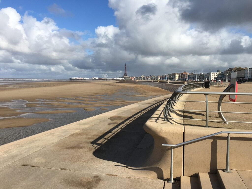 Miles of golden beach at Blackpool South Shore