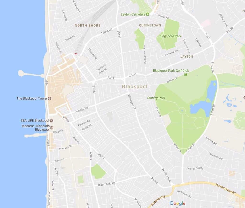 Google map showing location of Stanley Park