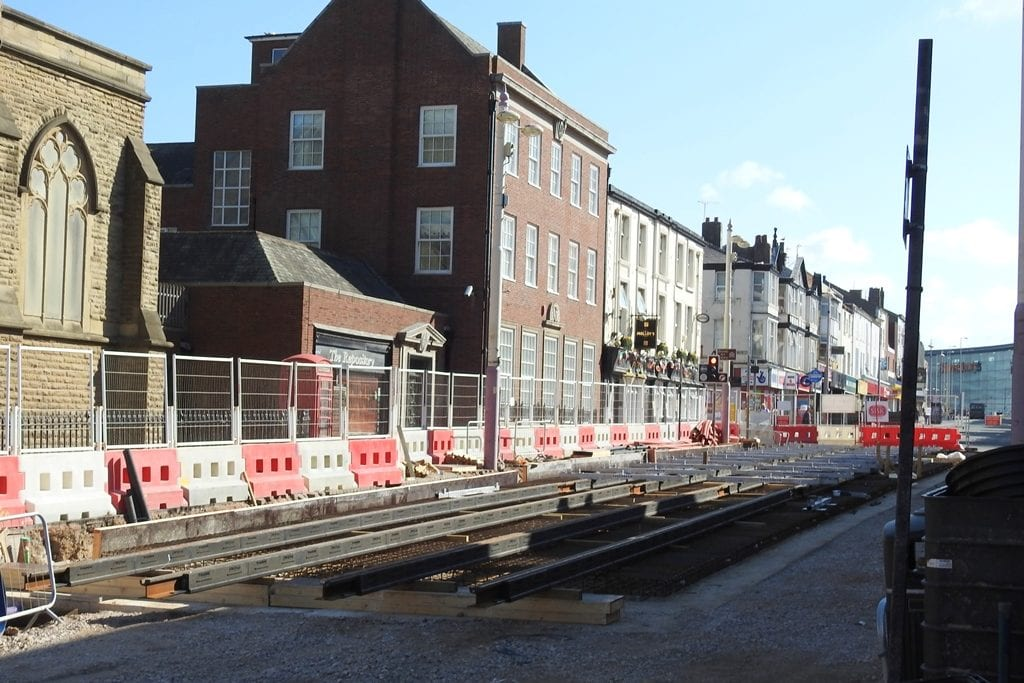 Tramlines being laid in Talbot Road, part of the Blackpool Tramway Extension. Photo: Barrie C Woods
