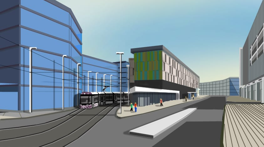 Visual showing a tram entering the new terminal at the current Wilkinson's site, Blackpool tramway extension