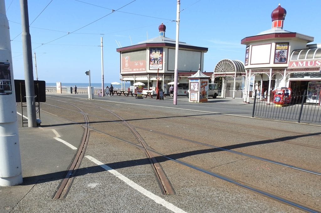 The 'turnout' created from the promenade lines when they were laid 6 years ago, part of the Blackpool Tramway Extension. Photo: Barrie C Woods