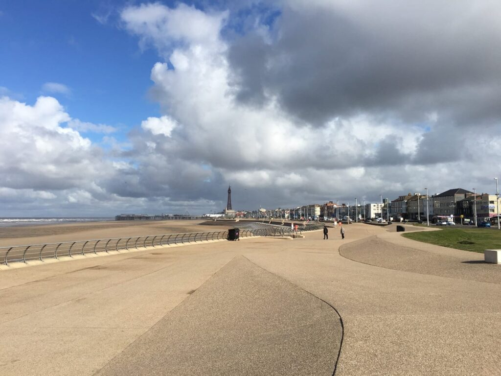 Walking in Blackpool on Waterloo headland on south promenade