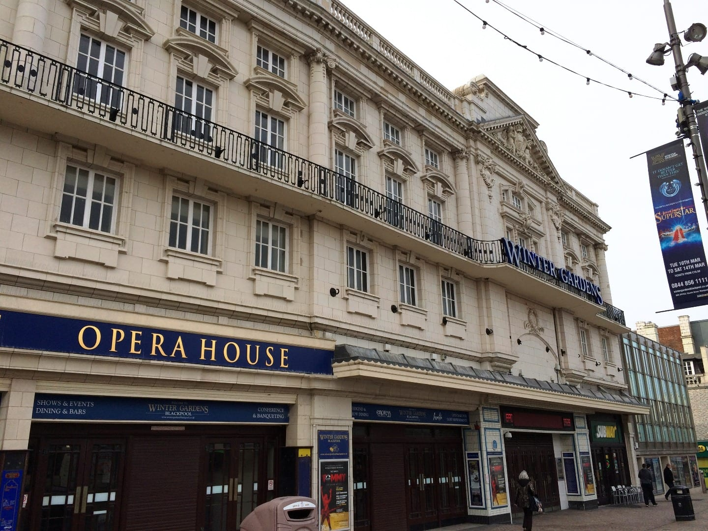 The white faience stone frontage of Blackpool Winter Gardens was cleaned in 2015. History of Blackpool Winter gardens