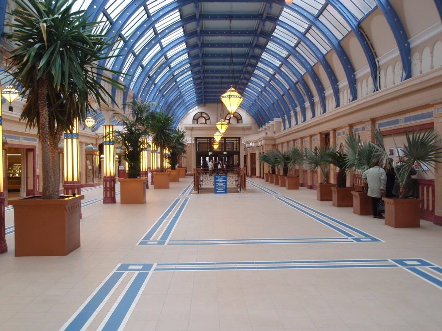 Floral Hall inside newly restored Winter Gardens. History of Blackpool Winter Gardens