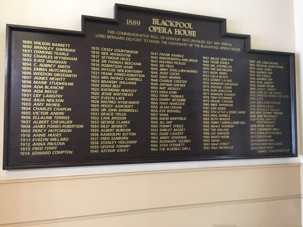 Board of stars appearing in the history of Blackpool Winter Gardens