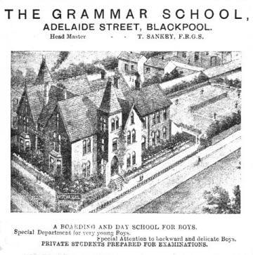 The Comrades Club on Adelaide Street Blackpool, built as a boys grammar school