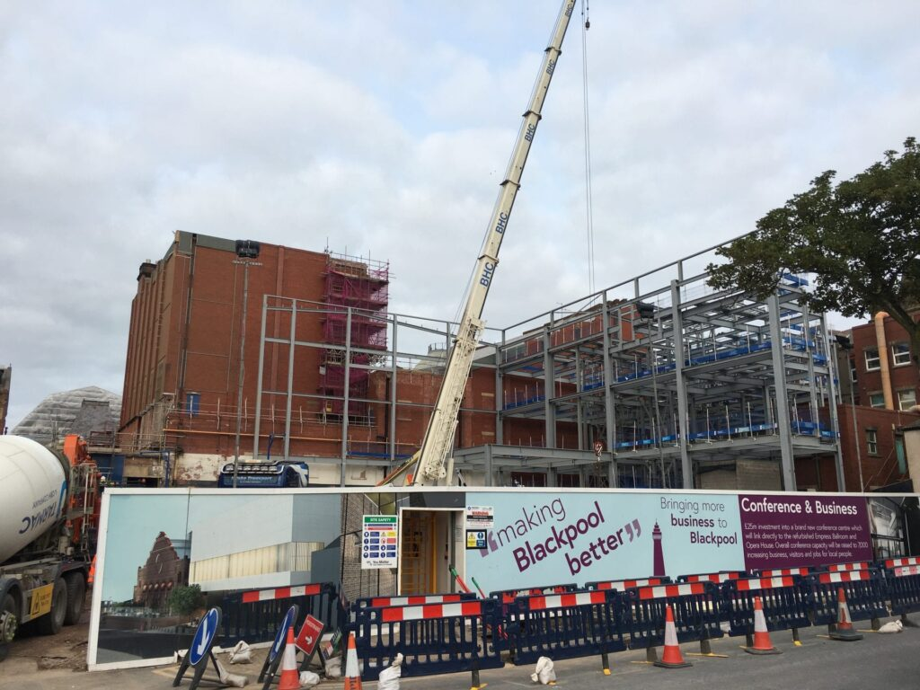 Steelwork going up for Blackpool's NewConference Centre. End of August 2018