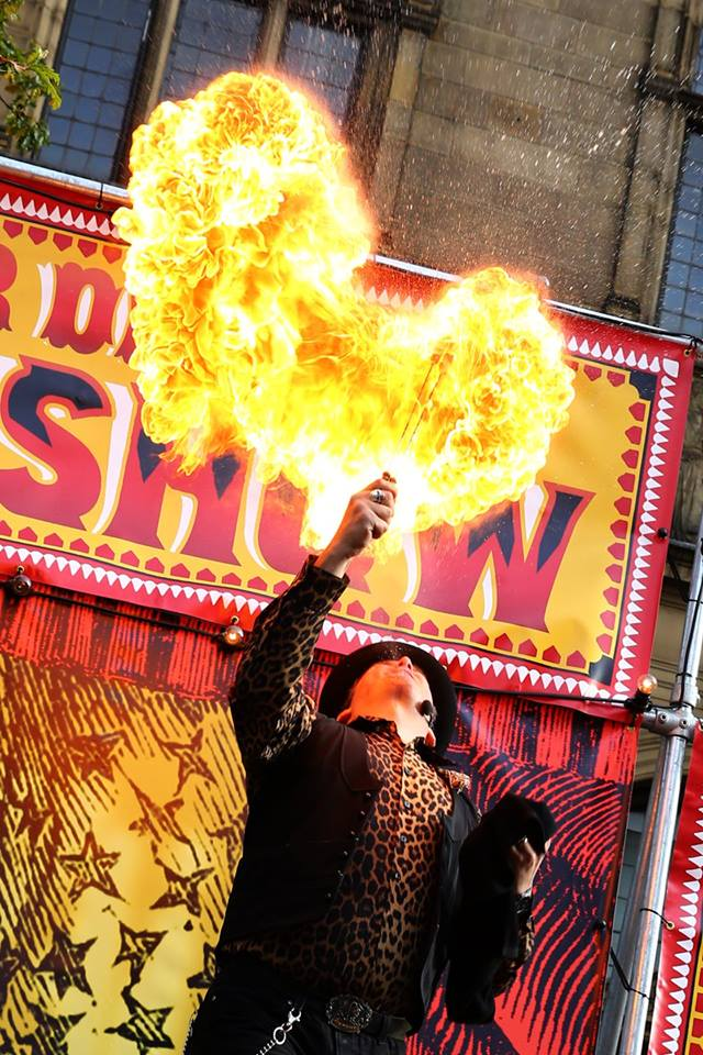 Fire breathing show at Showzam 2017